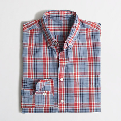 Slim lightweight chambray plaid shirt