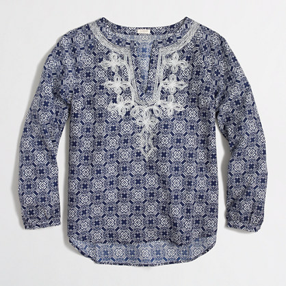 Printed embroidered top