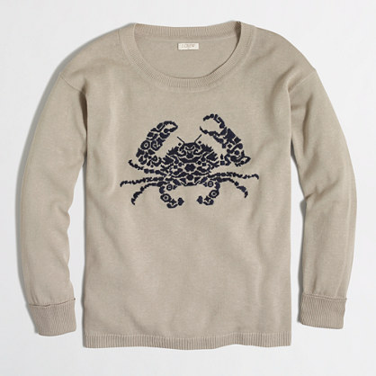 Embroidered crab cotton-linen sweater
