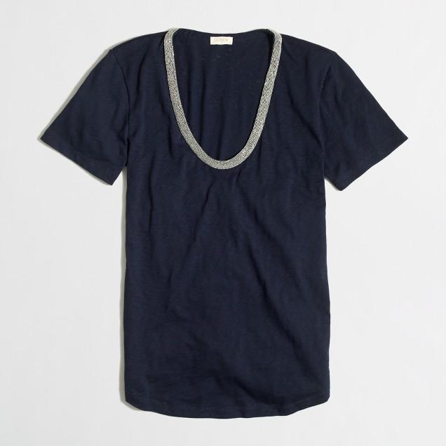 Metallic-trim sketched cotton t-SHIRT