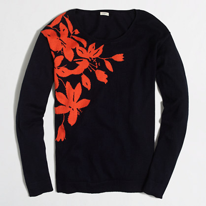Tropical vine intarsia sweater