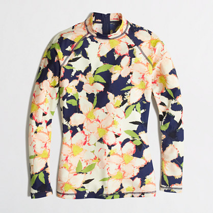 Colorblock rash guard in floral