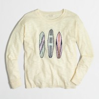Intarsia surfboard sweater in slub cotton