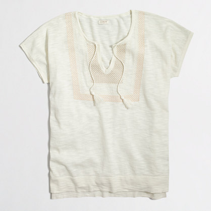 Embroidered tassel sweater in slub cotton
