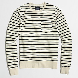 Striped lightweight fleece crewneck sweatshirt