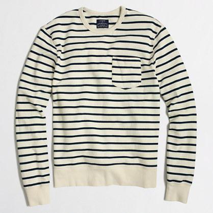 Striped lightweight fleece crewneck sweatshirt