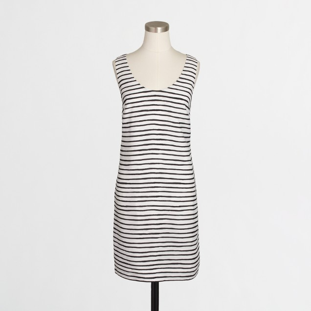 Petite twisted-back dress in stripe