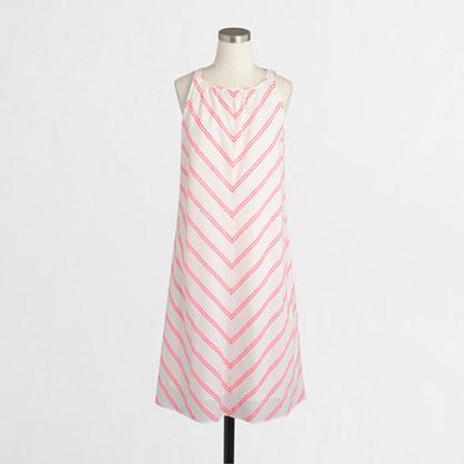 Linen-cotton dress in chevron stripe