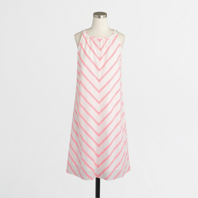 Linen-cotton dress in chevron stripe