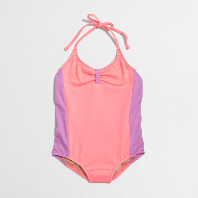Girls' colorblock one-piece swimsuit