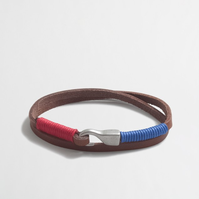 Tipped-end leather wrap bracelet