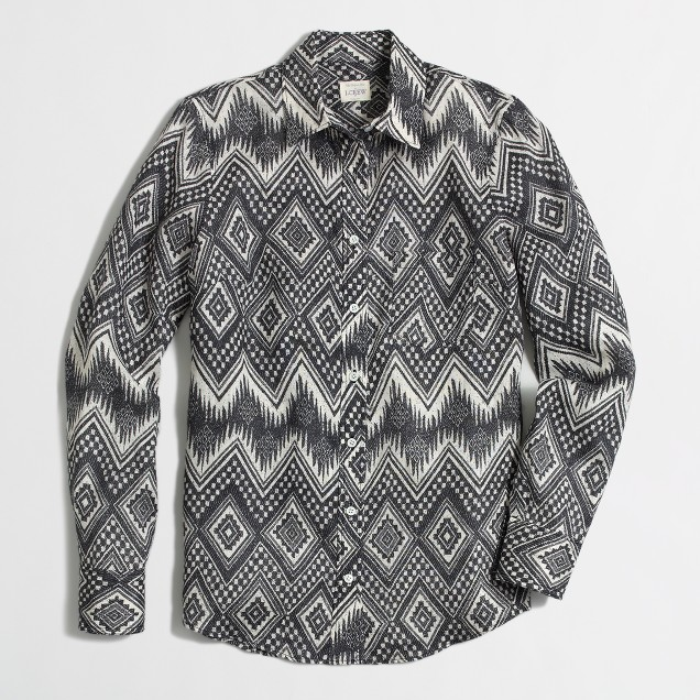 Printed linen boy shirt