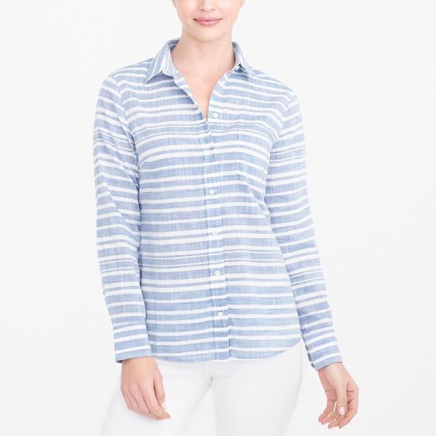 Striped gauze boy shirt