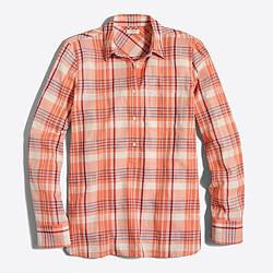 Petite plaid gauze popover shirt