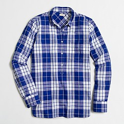 Factory plaid gauze popover shirt