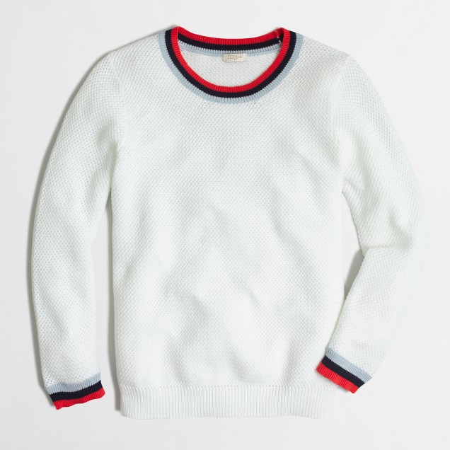 Basketweave sweater with striped trim