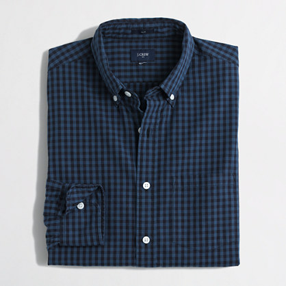 Slim washed shirt in gingham