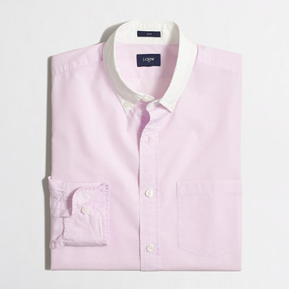 Slim white-collar washed shirt