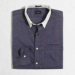 Factory slim white-collar washed shirt
