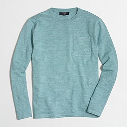 Factory textured cotton crewneck sweater with pocket