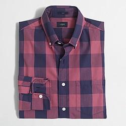 Slim washed shirt in oversized gingham