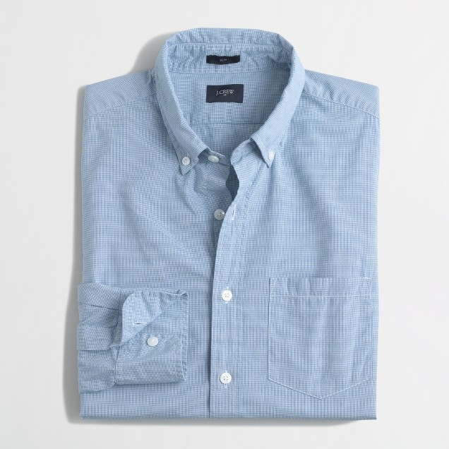 Slim washed shirt in micro-check