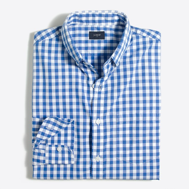 Gingham washed shirt
