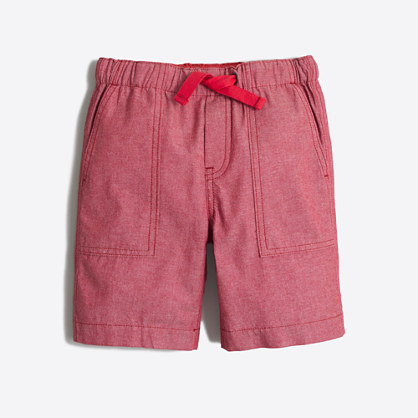 Boys' red chambray pull-on short
