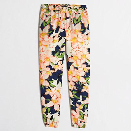 Petite printed drapey drawstring pant