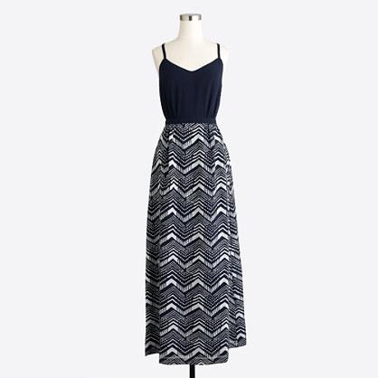 Petite maxi dress with printed skirt