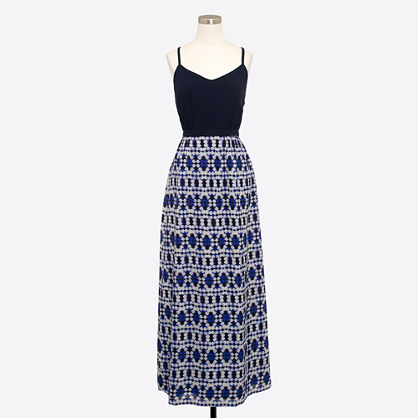 Maxi dress with printed skirt