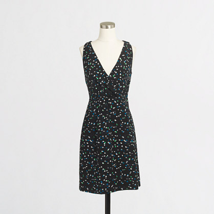 Wrap-front dress in painted dots