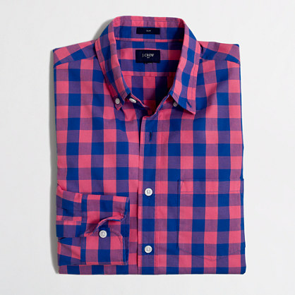 Tall slim washed shirt in two-tone gingham