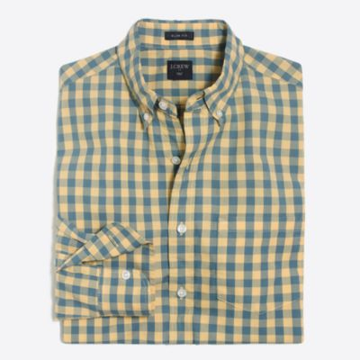 Slim washed shirt in double gingham factorymen new arrivals c