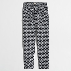 Factory printed linen-cotton drawstring pant