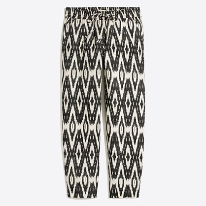 Ikat drawstring linen-cotton pant