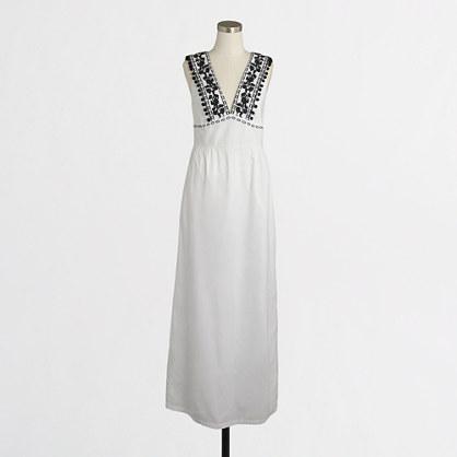 Petite maxi dress with pom-pom trim