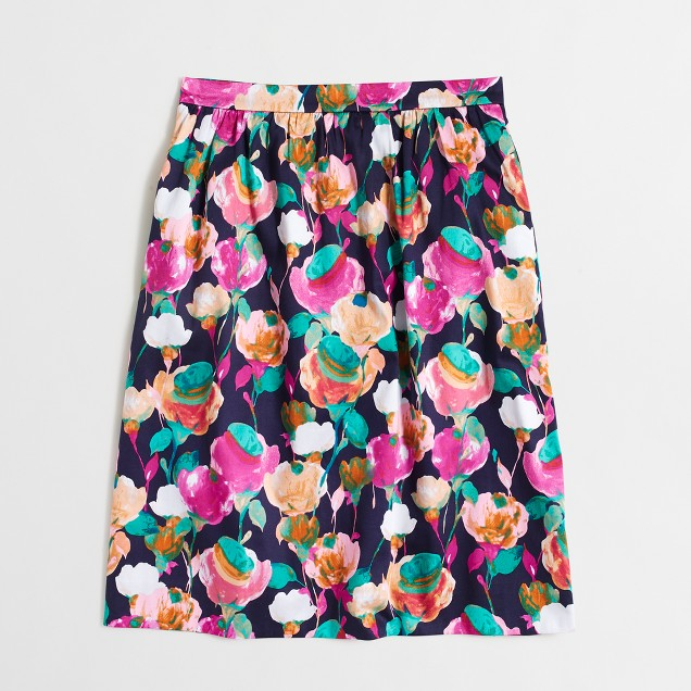 Printed stretch cotton skirt