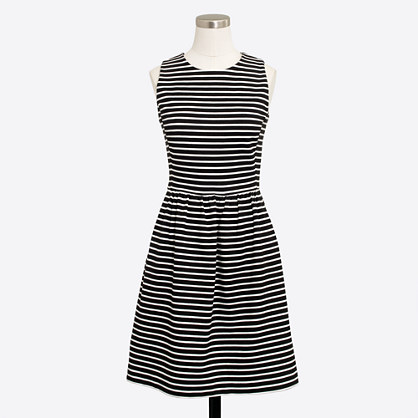Striped pleated ponte dress with zip back