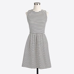 Factory striped pleated ponte dress with zip back