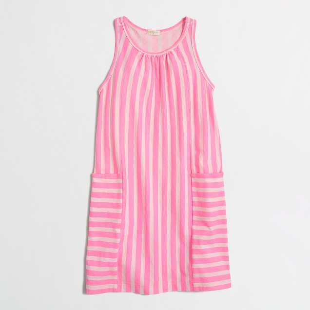 Girls' mixed-stripe pocket dress