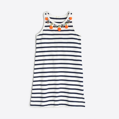 Girls' stripe pom-pom necklace dress