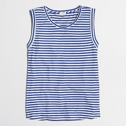 Striped drapey rolled-sleeve tank top