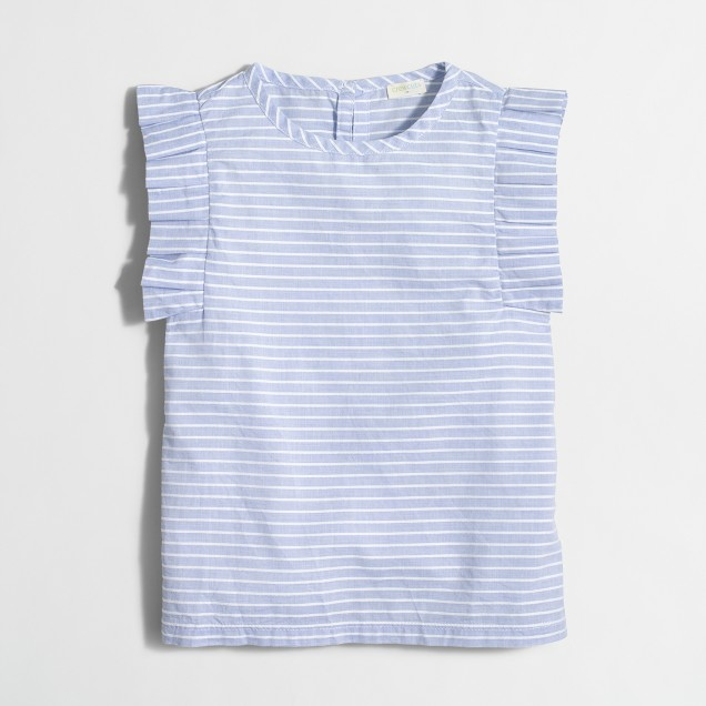 Girls' striped flutter-sleeve shirt