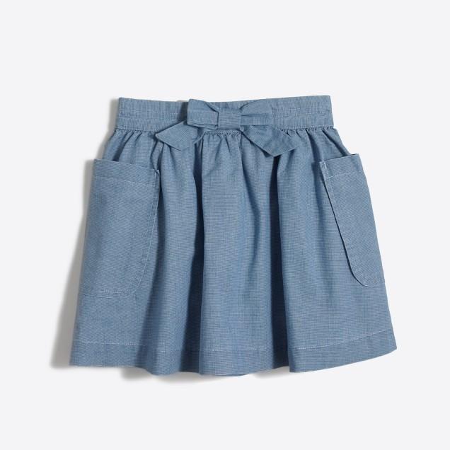 Girls' chambray bow skirt