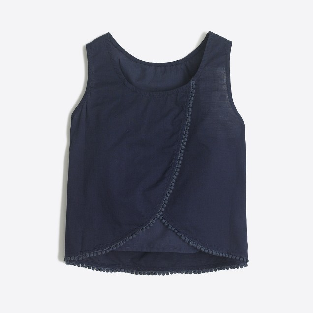 Girls' peekaboo pom-pom tank top