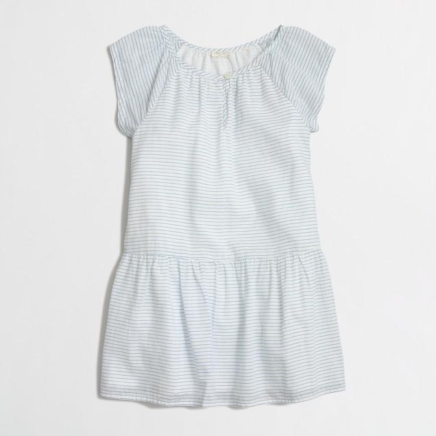 Girls' striped drop-waist dress