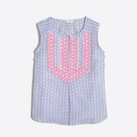 Girls' printed embroidered top