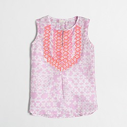 Factory girls' printed embroidered top