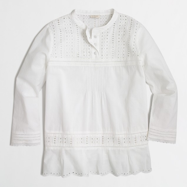Long-sleeve eyelet shirt